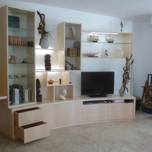 C2 Ebénisterie : Meuble salon -bureau -vitrines