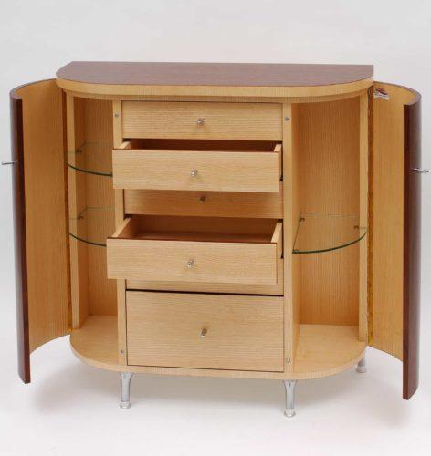 Frédéric Blatière : Petit meuble d'appoint en Acajou et Frêne de fil