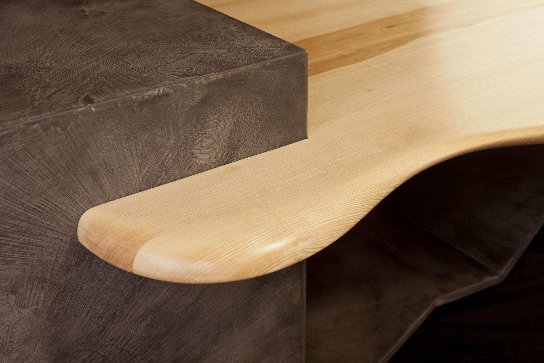 """Table En Béton Ciré Et Bois table basse """"le galet"""" - aef"""