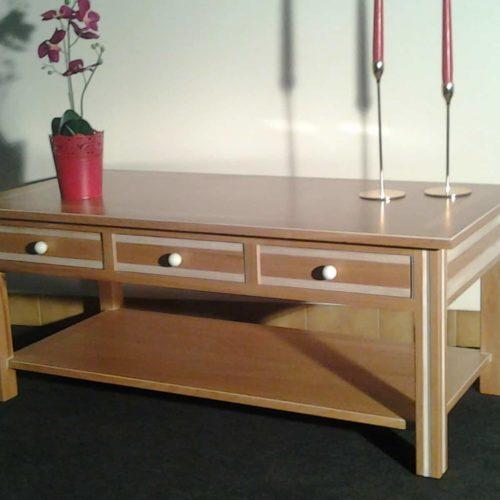 Fabrice MIRAULT : Table basse merisier céruse blanche